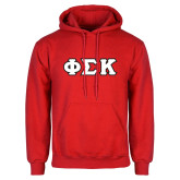 Red Fleece Hoodie-Greek Letters Tackle Twill