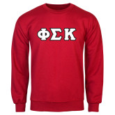 Red Fleece Crew-Greek Letters Tackle Twill