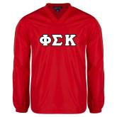 V Neck Red Raglan Windshirt-Greek Letters Tackle Twill