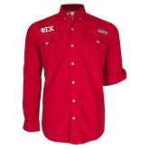 Columbia Bahama II Red Long Sleeve Shirt-Greek Letters