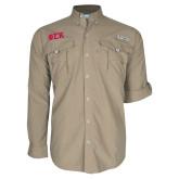 Columbia Bahama II Khaki Long Sleeve Shirt-Greek Letters