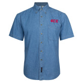 Denim Shirt Short Sleeve-Greek Letters