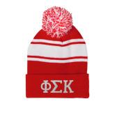 Red/White Two Tone Knit Pom Beanie w/Cuff-Greek Letters