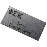 Brushed Silver w/ Black Name Badge-Greek Letters  Engraved