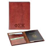 Fabrizio Brown RFID Passport Holder-Greek Letters  Engraved