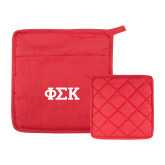 Quilted Canvas Red Pot Holder-Greek Letters