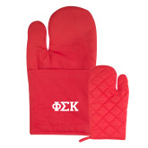 Quilted Canvas Red Oven Mitt-Greek Letters