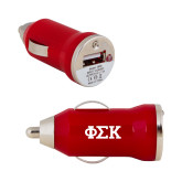 On the Go Red Car Charger-Greek Letters