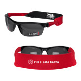 Croakies Red Wide Band Sunglasses Strap-Phi Sigma Kappa