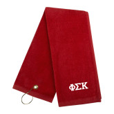 Red Golf Towel-Greek Letters