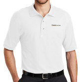 White Easycare Pique Polo-Primary Mark Flat