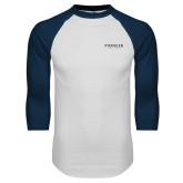 White/Navy Raglan Baseball T Shirt-Pioneer Well Services