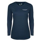 Ladies Syntrel Performance Navy Longsleeve Shirt-Pioneer Well Services