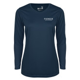 Ladies Syntrel Performance Navy Longsleeve Shirt-Pioneer Water Management