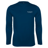 Performance Navy Longsleeve Shirt-Pioneer Well Services
