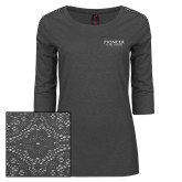 Ladies Charcoal Heather Lace 3/4 Sleeve Tee-Pioneer Natural Resources