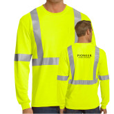 Safety Yellow ANSI 107 Class 2 Safety Long Sleeve T Shirt w/Pocket-Pioneer Natural Resources