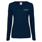 Ladies Navy Long Sleeve V Neck Tee-Pioneer Natural Resources