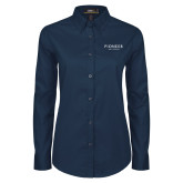 Ladies Navy Twill Button Down Long Sleeve-Pioneer Well Services