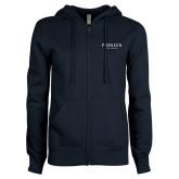 ENZA Ladies Navy Fleece Full Zip Hoodie-Pioneer Well Services