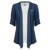 Ladies Navy Drape Front Cardigan-Pioneer Natural Resources