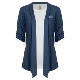 Ladies Navy Drape Front Cardigan-Pioneer Water Management