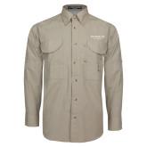 Khaki Long Sleeve Performance Fishing Shirt-Pioneer Well Services