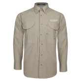 Khaki Long Sleeve Performance Fishing Shirt-Pioneer Water Management