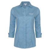 Ladies Red House Light Blue 3/4 Sleeve Shirt-Pioneer Well Services