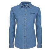 Ladies Denim Long Sleeve Shirt-Pioneer Well Services