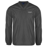 V Neck Charcoal Raglan Windshirt-Pioneer Well Services