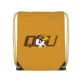 Gold Drawstring Backpack-QU Hawk Head