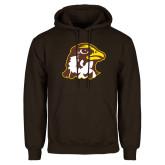 Brown Fleece Hoodie-Hawk Head