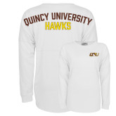 White Game Day Jersey Tee-QU Hawk Head