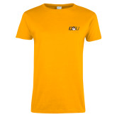 Ladies Gold T Shirt-QU Hawk Head