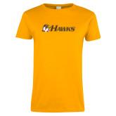 Ladies Gold T Shirt-Hawks w/ Hawk Head