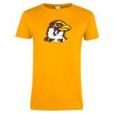 Ladies Gold T Shirt-Hawk Head