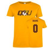 Ladies Gold T Shirt-QU Hawk Head, Custom Tee w/ Name and #