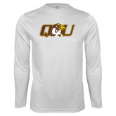 Performance White Longsleeve Shirt-QU Hawk Head