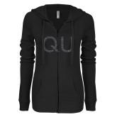 ENZA Ladies Black Light Weight Fleece Full Zip Hoodie-QU Graphite Glitter