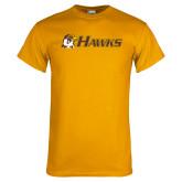 Gold T Shirt-Hawks w/ Hawk Head