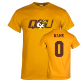 Gold T Shirt-QU Hawk Head, Custom Tee w/ Name and #