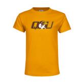 Youth Gold T Shirt-QU Hawk Head
