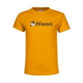 Youth Gold T Shirt-Hawks w/ Hawk Head