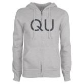 ENZA Ladies Grey Fleece Full Zip Hoodie-QU Graphite Glitter