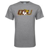 Grey T Shirt-QU Hawk Head