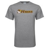 Grey T Shirt-Hawks w/ Hawk Head