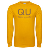 Gold Long Sleeve T Shirt-QU Quincy University