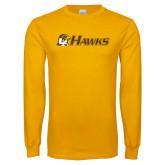 Gold Long Sleeve T Shirt-Hawks w/ Hawk Head