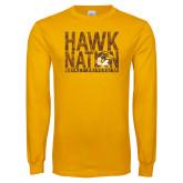 Gold Long Sleeve T Shirt-Hawk Nation